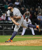 Joba Chamberlain of the Detroit Tigers pitches against the Chicago White Sox during the eighth inning on May 6 2015 at US Cellular Field in Chicago...