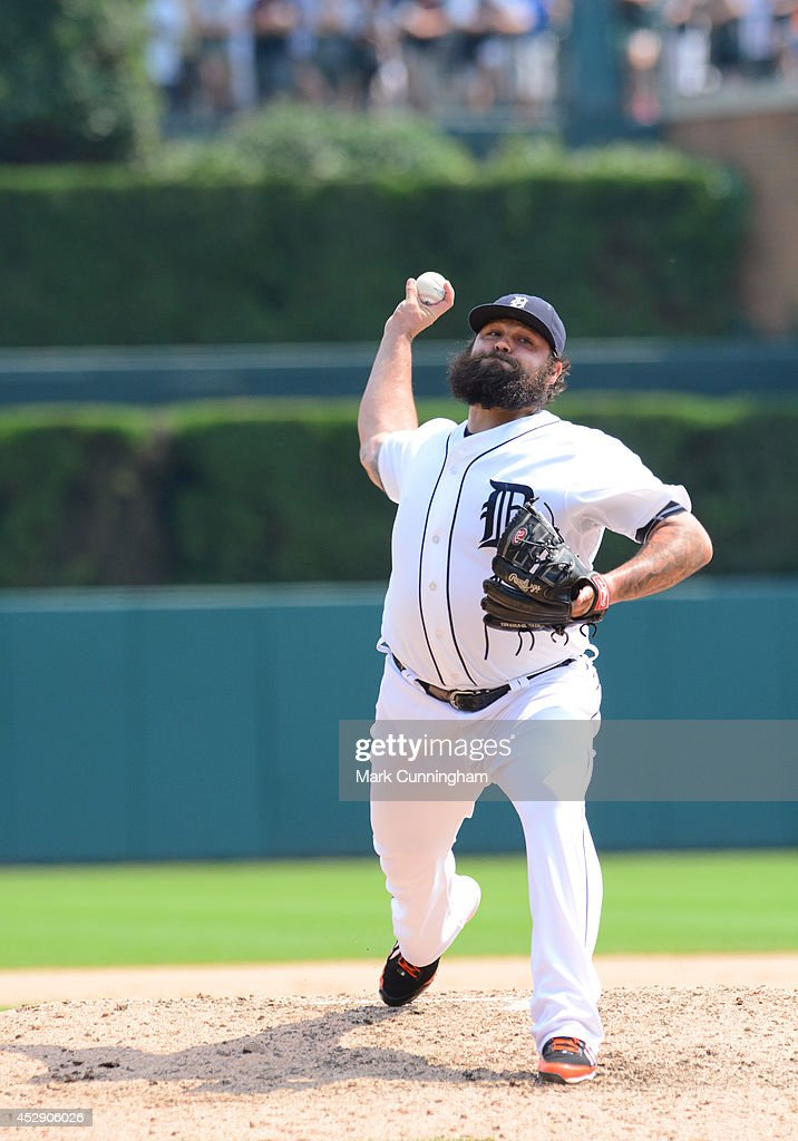 <a gi-track='captionPersonalityLinkClicked' href=/galleries/search?phrase=Joba+Chamberlain&family=editorial&specificpeople=4391682 ng-click='$event.stopPropagation()'>Joba Chamberlain</a> #44 of the Detroit Tigers pitches during the game against the Cleveland Indians at Comerica Park on July 20, 2014 in Detroit, Michigan. The Tigers defeated the Indians 5-1.