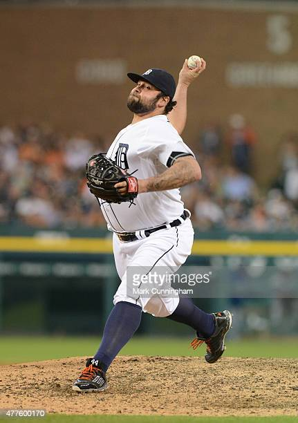 Joba Chamberlain of the Detroit Tigers pitches during the game against the Chicago Cubs at Comerica Park on June 9 2015 in Detroit Michigan The...