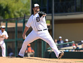 Joba Chamberlain of the Detroit Tigers pitches during the Spring Training game against the Houston Astros at Joker Marchant Stadium on March 8 2015...