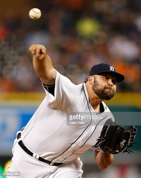 Joba Chamberlain of the Detroit Tigers pitches in the eight inning of the interleague game against the Pittsburgh Pirates on June 30 2015 at Comerica...