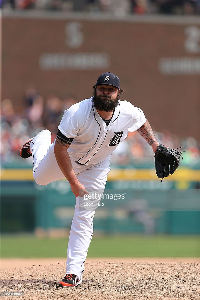 <a gi-track='captionPersonalityLinkClicked' href=/galleries/search?phrase=Joba+Chamberlain&family=editorial&specificpeople=4391682 ng-click='$event.stopPropagation()'>Joba Chamberlain</a> #44 of the Detroit Tigers pitches in the eighth inning of the game against the Colorado Rockies at Comerica Park on August 3, 2014 in Detroit, Michigan. The Tigers defeated the Rockies 4-0.