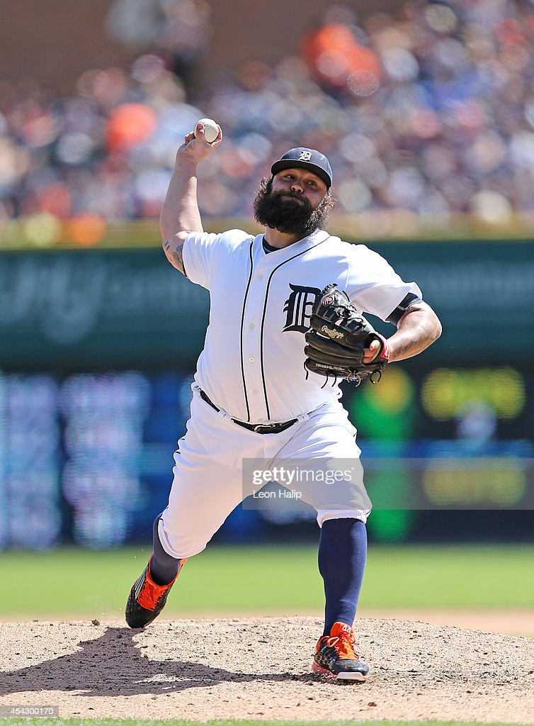 <a gi-track='captionPersonalityLinkClicked' href=/galleries/search?phrase=Joba+Chamberlain&family=editorial&specificpeople=4391682 ng-click='$event.stopPropagation()'>Joba Chamberlain</a> #44 of the Detroit Tigers pitches in the eighth inning of the game against the New York Yankees at Comerica Park on August 28, 2014 in Detroit, Michigan. The Tigers defeated the Yankees 3-2.