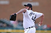 Joba Chamberlain of the Detroit Tigers pitches in the ninth inning during the game against the New York Yankees on April 23 2015 at Comerica Park in...
