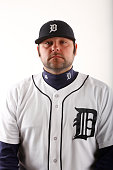 Joba Chamberlain of the Detroit Tigers poses for a photo during the Tigers' photo day on February 28 2015 at Joker Marchant Stadium in Lakeland...