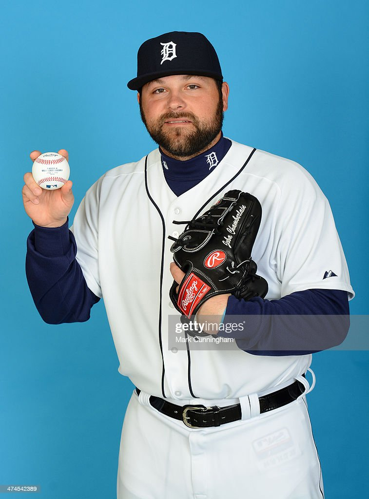 Joba Chamberlain of the Detroit Tigers poses for a portrait during photo day at Joker Marchant Stadium on February 23 2014 in Lakeland Florida