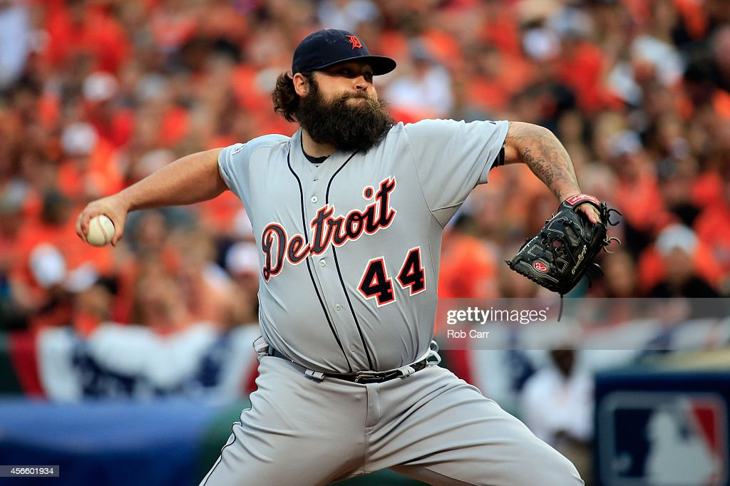 <a gi-track='captionPersonalityLinkClicked' href=/galleries/search?phrase=Joba+Chamberlain&family=editorial&specificpeople=4391682 ng-click='$event.stopPropagation()'>Joba Chamberlain</a> #44 of the Detroit Tigers throws a pitch in the eighth inning against the Baltimore Orioles during Game Two of the American League Division Series at Oriole Park at Camden Yards on October 3, 2014 in Baltimore, Maryland.