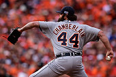 Joba Chamberlain of the Detroit Tigers throws a pitch in the eighth inning against the Baltimore Orioles during Game Two of the American League...