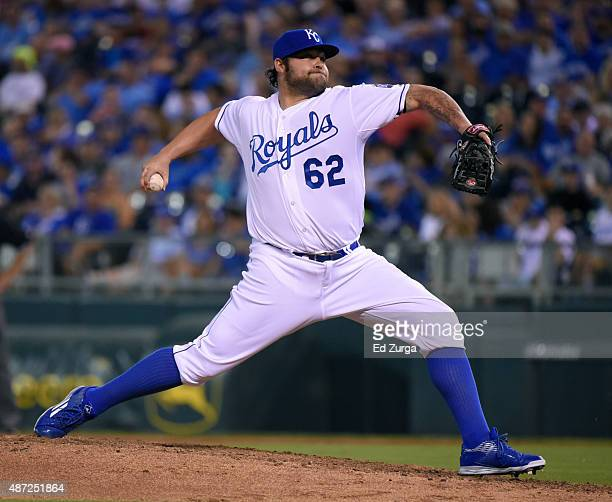 Joba Chamberlain of the Kansas City Royals throws against the Minnesota Twins in the seventh inning at Kauffman Stadium on September 7 2015 in Kansas...