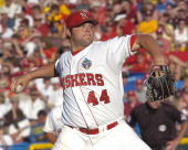 Joba Chamberlain of the Nebraska Cornhuskers pitched seven innings to get the win for the Huskers against the Arizona State Sun Devils in the first...