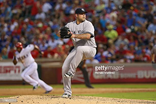 Joba Chamberlain of the New York Yankees at Rangers Ballpark in Arlington on July 23 2013 in Arlington Texas