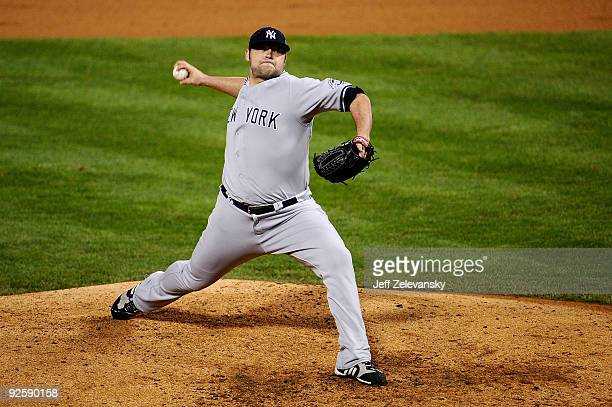 Joba Chamberlain of the New York Yankees pitches against the Philadelphia Phillies in Game Three of the 2009 MLB World Series at Citizens Bank Park...