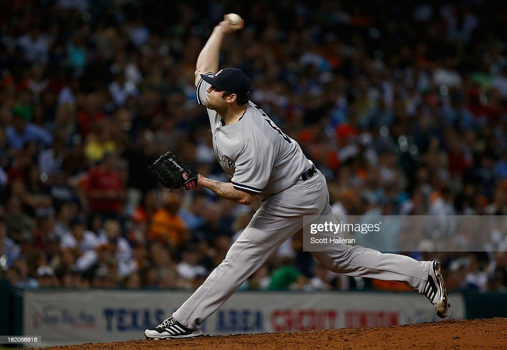 <a gi-track='captionPersonalityLinkClicked' href=/galleries/search?phrase=Joba+Chamberlain&family=editorial&specificpeople=4391682 ng-click='$event.stopPropagation()'>Joba Chamberlain</a> #62 of the New York Yankees throws a pitch in the seventh inning against the Houston Astros at Minute Maid Park on September 27, 2013 in Houston, Texas.