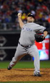 Joba Chamberlain pitches during Game Three of the 2009 MLB World Series at Citizens Bank Park on October 31 2009 in Philadelphia Pennsylvania