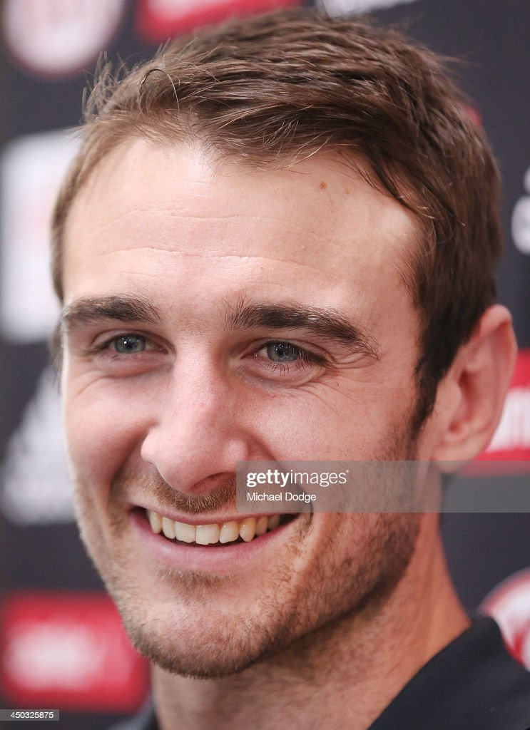 Jobe Watson at a press conference at the new Essendon Bombers AFL training facility at Tullamarine on November 18, 2013 in Melbourne, Australia.