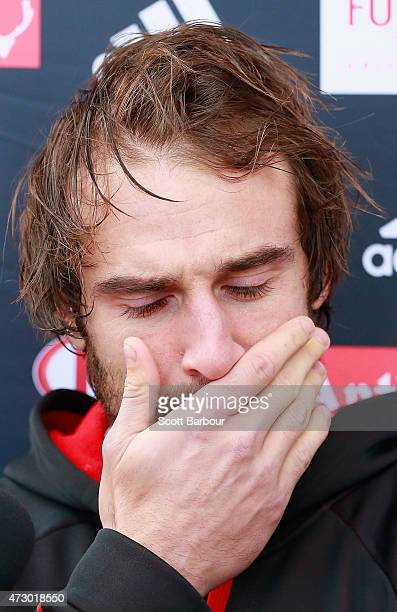 Jobe Watson captain of the Bombers speaks to the media during an Essendon Bombers AFL recovery session at St Kilda Sea Baths on May 12 2015 in...