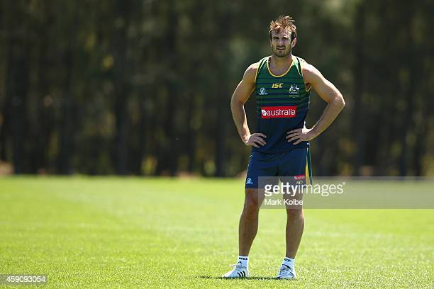 Jobe Watson looks on during an Australian International Rules training session at Sydney Olympic Park Sports Centre on November 17 2014 in Sydney...