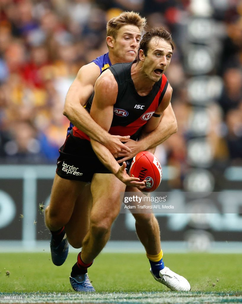 Jobe Watson of the Bombers and Brad Sheppard of the Eagles compete for the ball during the 2017 AFL round 09 match between the Essendon Bombers and the West Coast Eagles at Etihad Stadium on May 21, 2017 in Melbourne, Australia.