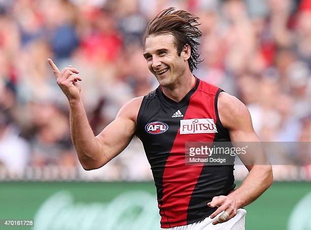 Jobe Watson of the Bombers celebrates a goal during the round three AFL match between the Carlton Blues and the Essendon Bombers at Melbourne Cricket...