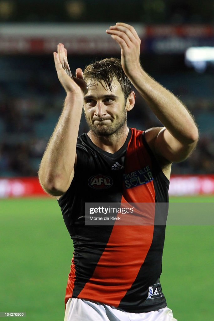<a gi-track='captionPersonalityLinkClicked' href=/galleries/search?phrase=Jobe+Watson&family=editorial&specificpeople=235888 ng-click='$event.stopPropagation()'>Jobe Watson</a> of the Bombers celebrates after the round one AFL match between the Adelaide Crows and the Essendon Bombers at AAMI Stadium on March 22, 2013 in Adelaide, Australia.