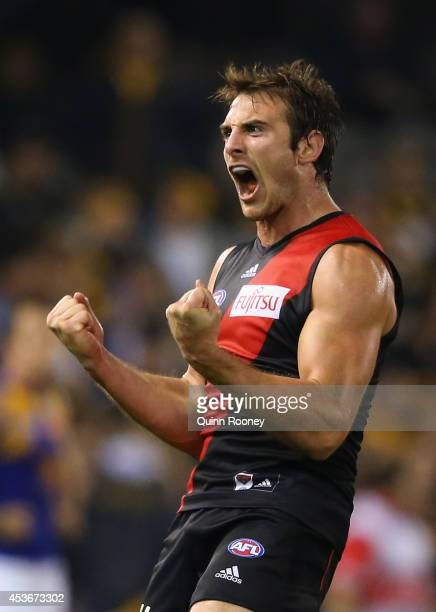 Jobe Watson of the Bombers celebrates winning the round 21 AFL match between the Essendon Bombers and the West Coast Eagles at Etihad Stadium on...