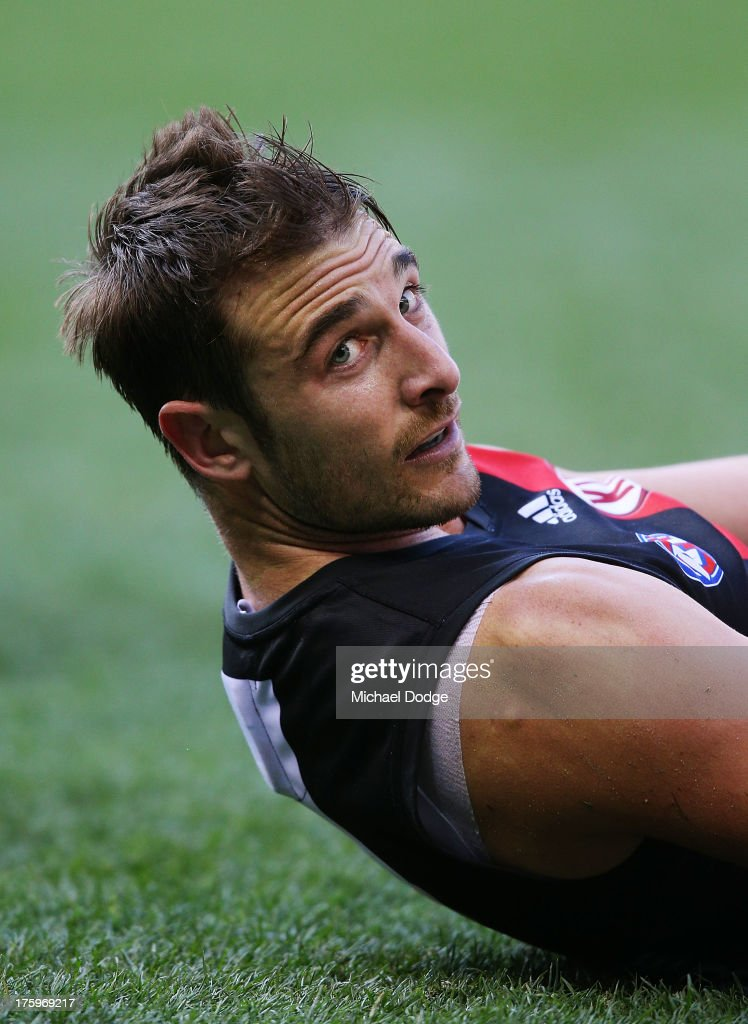 <a gi-track='captionPersonalityLinkClicked' href=/galleries/search?phrase=Jobe+Watson&family=editorial&specificpeople=235888 ng-click='$event.stopPropagation()'>Jobe Watson</a> of the Bombers looks ahead during the round 20 AFL match between the Essendon Bombers and the West Coast Eagles at Etihad Stadium on August 11, 2013 in Melbourne, Australia.