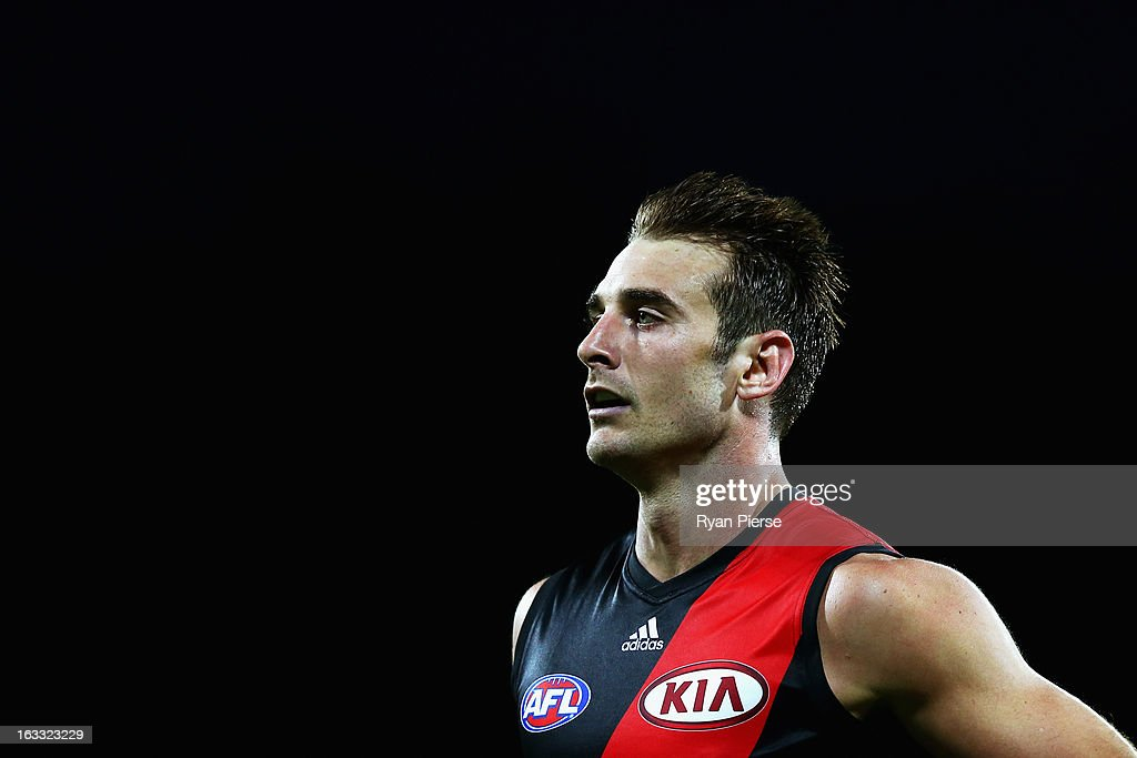 <a gi-track='captionPersonalityLinkClicked' href=/galleries/search?phrase=Jobe+Watson&family=editorial&specificpeople=235888 ng-click='$event.stopPropagation()'>Jobe Watson</a> of the Bombers looks on during round three NAB Cup AFL match between the Greater Western Sydney Giants and the Essendon Bombers at Manuka Oval on March 8, 2013 in Canberra, Australia.