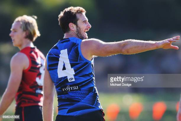 Jobe Watson of the Bombers shouts out instructions to teammates during an Essendon Bombers AFL training session at True Value Centre on June 20 2017...