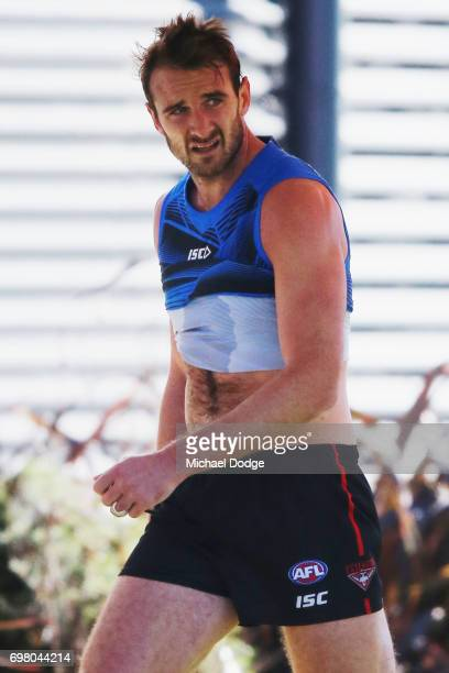 Jobe Watson of the Bombers walks off at the end of an Essendon Bombers AFL training session at True Value Centre on June 20 2017 in Melbourne...