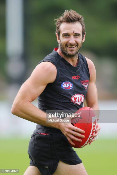 Jobe Watson of the Bombers with stitches in his forehand from the Anzac Day match during an Essendon Bombers AFL training session at True Value Solar...