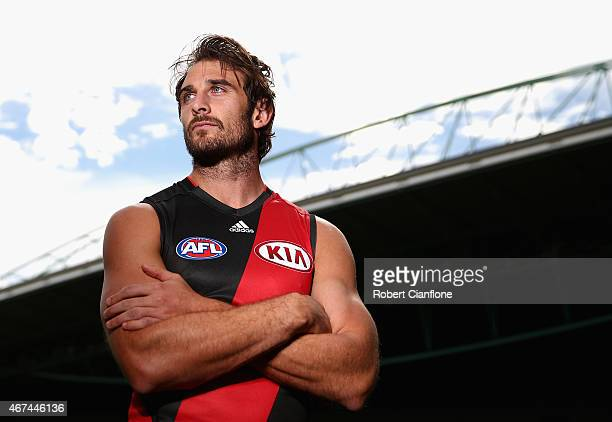 Jobe Watson of the Essendon Bombers poses during the 20015 AFL Captains Interview Session at Etihad Stadium on March 25 2015 in Melbourne Australia