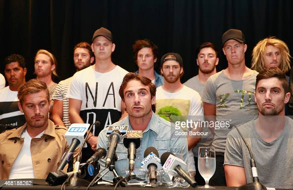 Jobe Watson the captain of the Bombers flanked by his team mates talks to the media at the Pullman Hotel on March 31 2015 in Melbourne Australia The...