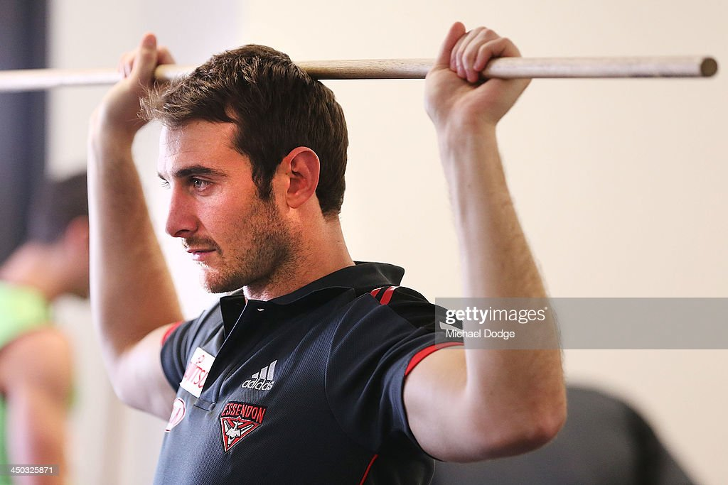 Jobe Watson works out in the rehab room at the new Essendon Bombers AFL training facility at Tullamarine on November 18, 2013 in Melbourne, Australia.