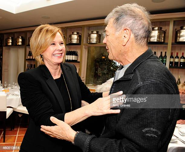 JoBeth Williams and Robert Forster attend a special luncheon for Kevin Costner and Mike Binder hosted by Colleen Camp for the film BLACK OR WHITE at...