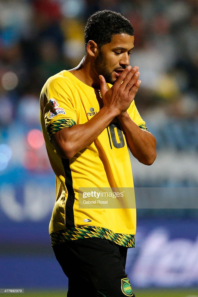 <a gi-track='captionPersonalityLinkClicked' href=/galleries/search?phrase=Jobi+McAnuff&family=editorial&specificpeople=642949 ng-click='$event.stopPropagation()'>Jobi McAnuff</a> of Jamaica laments after missing a chance at goal during the 2015 Copa America Chile Group B match between Argentina and Jamaica at Sausalito Stadium on June 20, 2015 in Viña del Mar, Chile.