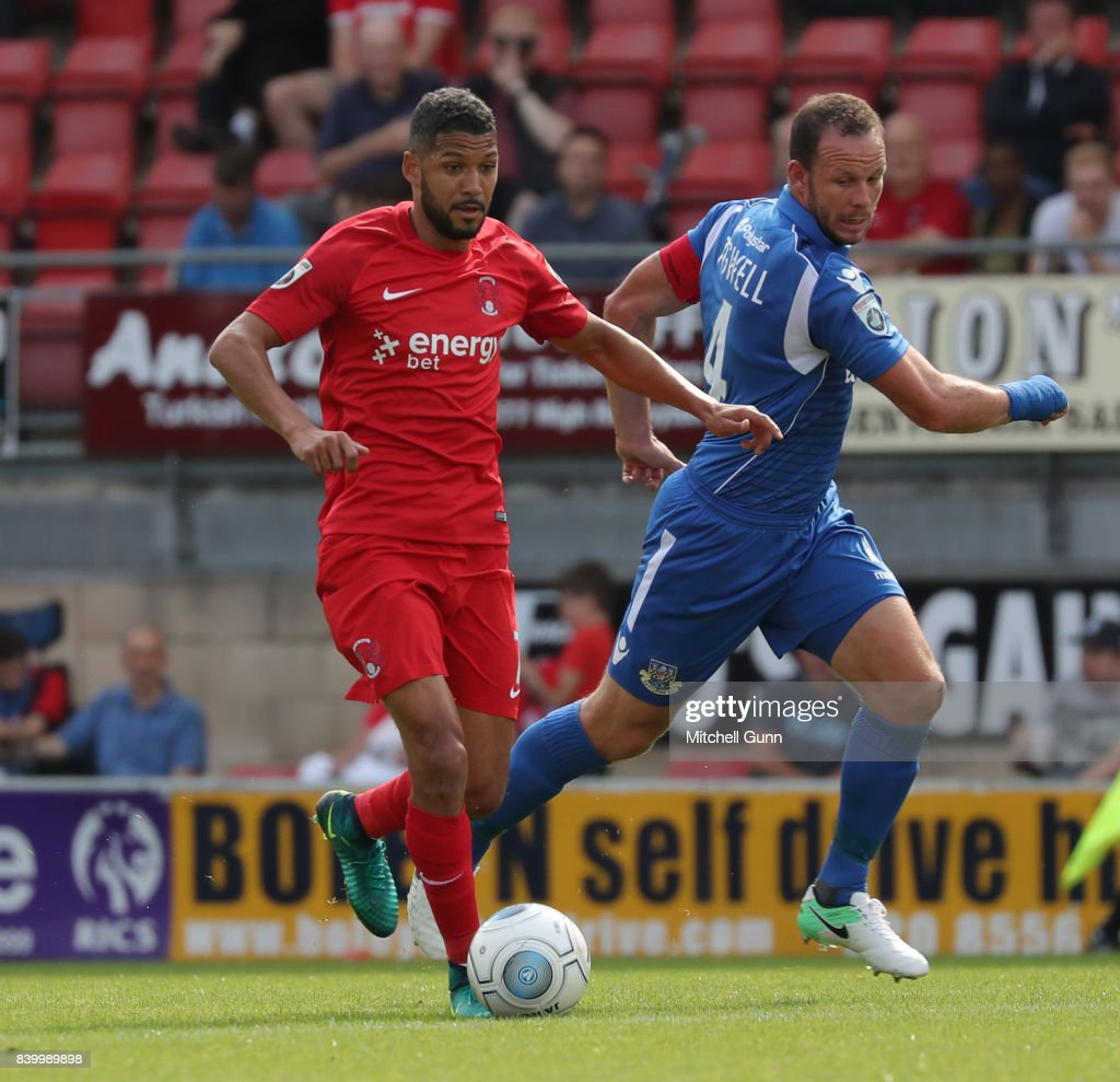 Jobi McAnuff of Leyton Orient and Sam Togwell of Eastleigh during the National League match between Leyton Orient and Eastleigh at The Matchroom Stadium on August 26, 2017 in London, United Kingdom.