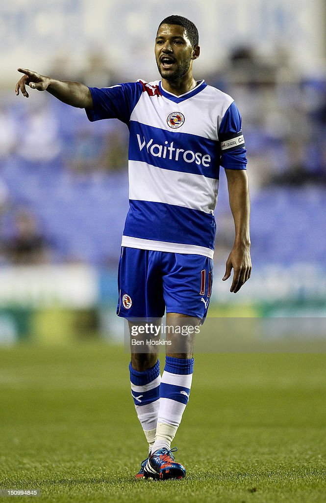 Jobi McAnuff of Reading shouts instructions during the Capital One Cup Second Round match between Reading and Peterborough United at The Madejski Stadium on August 28, 2012 in Reading, England.