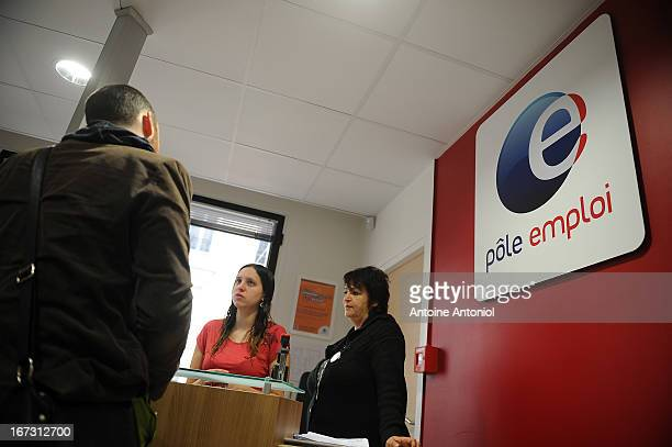 A jobseeker arrives for an interview at a Pole Emploi unemployment office on April 24 2013 in Vincennes France French unemployment keeps rising and...