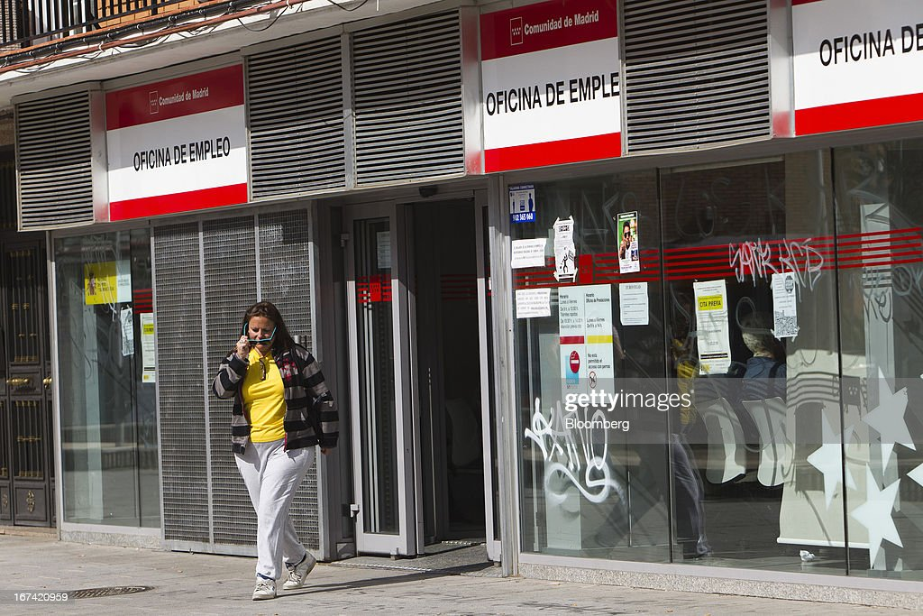 A jobseeker exits an employment office in Alcorcon, Spain, on Thursday, April 25, 2013. Spanish unemployment rose more than economists forecast in the first quarter to the highest in at least 37 years as efforts to tackle the European Union's biggest budget deficit crimped economic growth. Photographer: Angel Navarrete/Bloomberg via Getty Images
