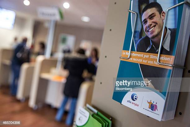 Jobseeker information leaflets sit on display inside a Pole Emploi job center the French national employment agency in Montauban France on Tuesday...