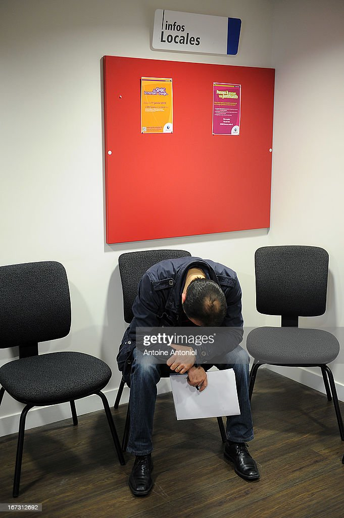 A jobseeker waits for an interview at a Pole Emploi unemployment office on April 24, 2013 in Vincennes, France. French unemployment keeps rising and the number of unemployed people could reach a new historical record in May 2013.