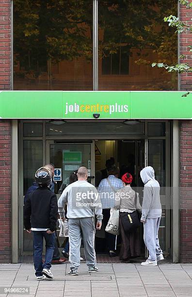 Jobseekers enter a Job Centre in London UK on Thursday July 30 2009 Unemployment in the quarter through May increased by 281 the most since records...