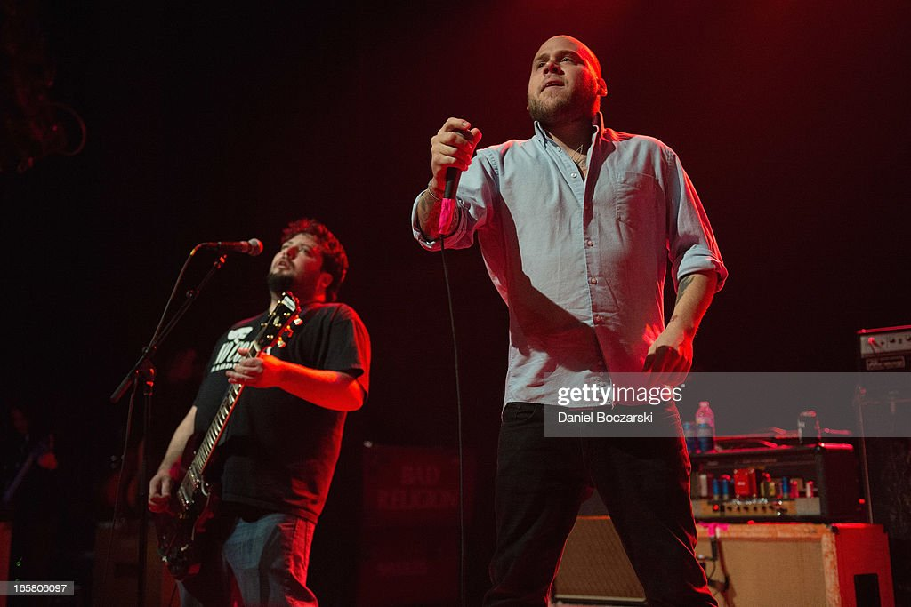 Joby J. Ford and Matt Caughthran of The Bronx during their performance on stage as a supporting act for Bad Religion at Congress Theater on April 5, 2013 in Chicago, Illinois.