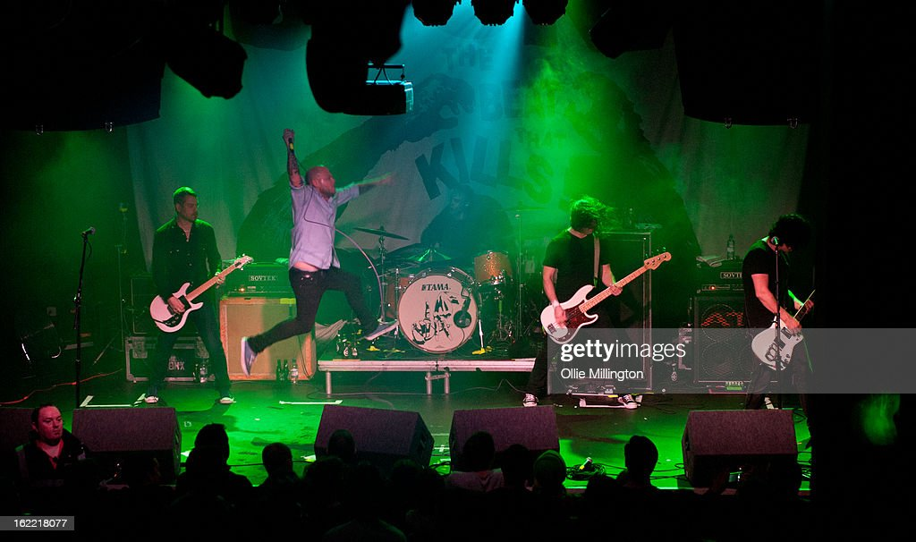 Joby J. Ford, Matt Caughthran, Jorma Vik, Brad Magers and Ken Horne of The Bronx perform on stage during the band's February 2013 UK tour at Rescue Rooms on February 20, 2013 in Nottingham, England.