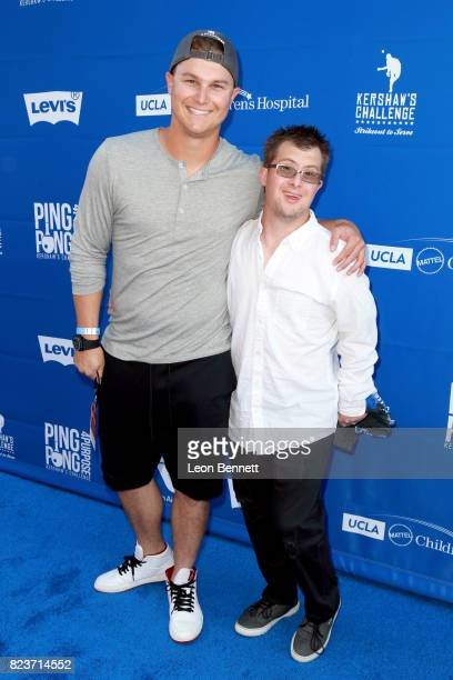 Joc Pederson and Champ Pederson at Clayton Kershaw's 5th Annual Ping Pong 4 Purpose Celebrity Tournament at Dodger Stadium on July 27 2017 in Los...