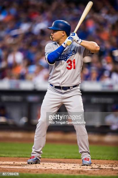 Joc Pederson of the Los Angeles Dodgers bats during the game against the New York Mets at Citi Field on August 4 2017 in the Queens borough of New...
