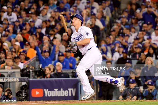 Joc Pederson of the Los Angeles Dodgers hits a solo home run during the seventh inning against the Houston Astros in game six of the 2017 World...
