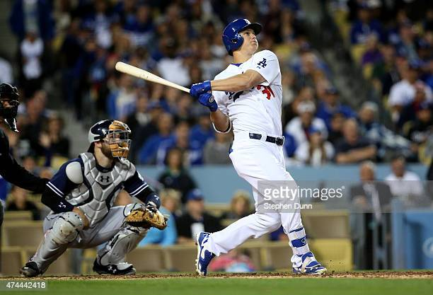 Joc Pederson of the Los Angeles Dodgers hits a solo home run in the eighth inning to give the Dodgers a 21 lead against the San Diego Padres at...
