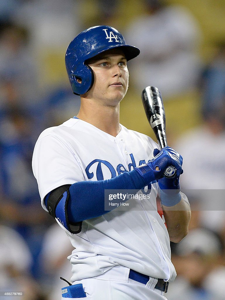 <a gi-track='captionPersonalityLinkClicked' href=/galleries/search?phrase=Joc+Pederson&family=editorial&specificpeople=9750060 ng-click='$event.stopPropagation()'>Joc Pederson</a> #65 of the Los Angeles Dodgers warms up before his MLB debut at the plate against the Washington Nationals during the ninth inning at Dodger Stadium on September 1, 2014 in Los Angeles, California.