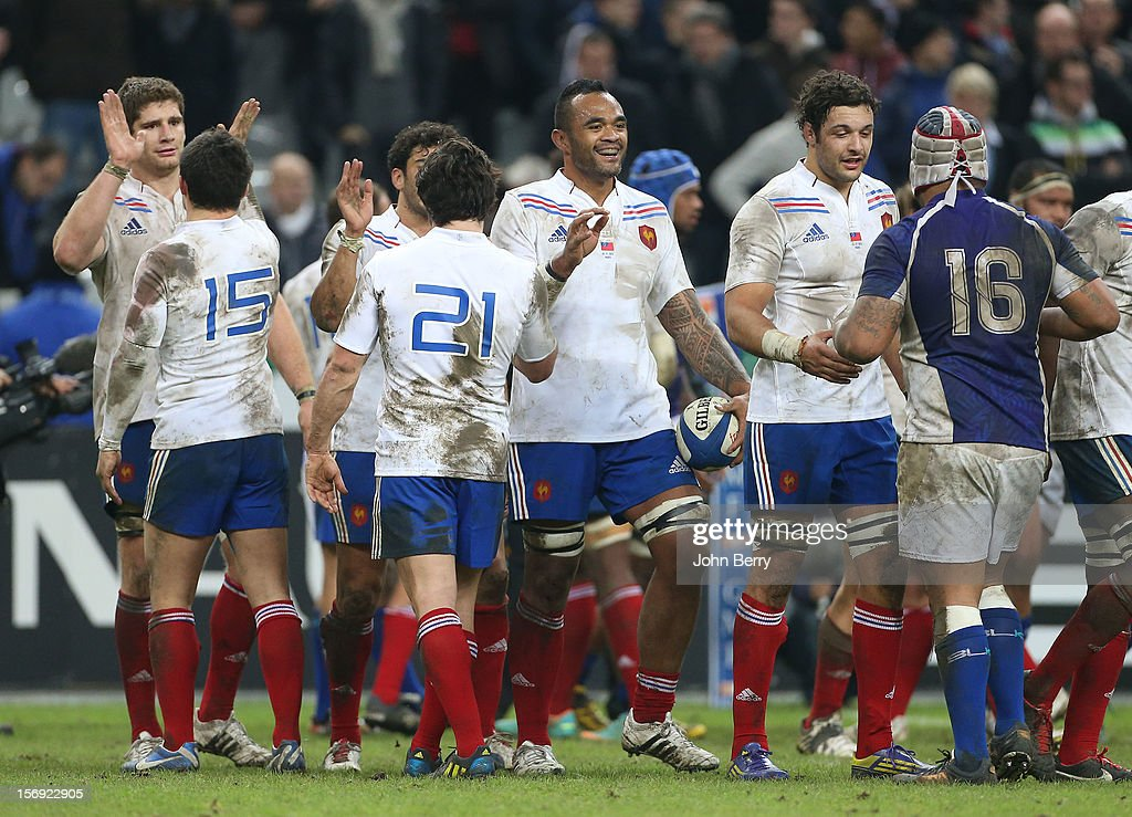 Jocelino Suta of France congratulates his teammates after the Rugby Autumn International between France and Samoa at the Stade de France on November 24, 2012 in Paris, France.